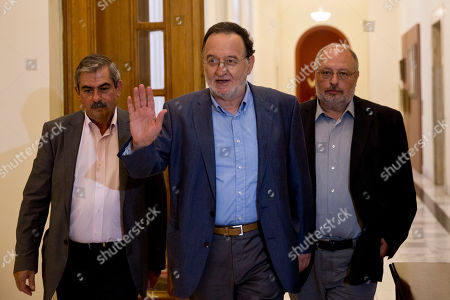 Panagiotis Lafazanis Former energy minister and head of a new hardline left wing party called Popular Unity, Panagiotis Lafazanis, center, arrives for a meeting with Conservative New Democracy party head Evangelos Meimarakis in the Greek Parliament, on .Greece's main opposition party launched efforts to form a new government Friday following Prime Minister Alexis Tsipras' resignation, but made no progress in what appears a doomed task - which will pave the way for another potentially destabilizing election
