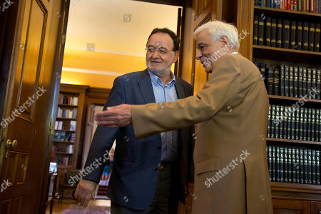 Panagiotis Lafazanis,Prokopis Pavlopoulos Former Energy Minister and head a party called Popular Unity, Panagiotis Lafazanis, left, is welcomed by Greek President Prokopis Pavlopoulos, in Athens, . Lafazanis, who heads the newly-formed Popular Unity, received the maximum three-day mandate from the country's president after the head of the main opposition conservative New Democracy failed to form a government