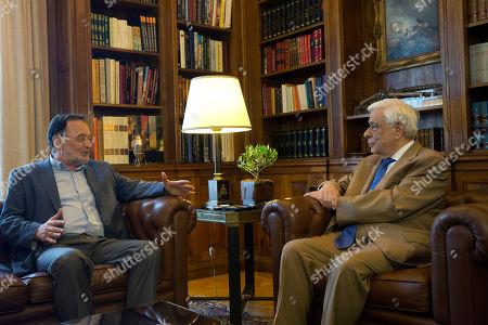 Panagiotis Lafazanis,Prokopis Pavlopoulos Former Energy Minister and head a party called Popular Unity, Panagiotis Lafazanis, left, chats with Greek President Prokopis Pavlopoulos, in Athens, . Lafazanis, who heads the newly-formed Popular Unity, received the maximum three-day mandate from the country's president after the head of the main opposition conservative New Democracy failed to form a government