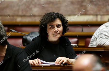 Nadia Valavani Lawmaker Nadia Valavani attends a meeting with lawmakers of Syriza governing party at the Greek Parliament in Athens, . Greece's Alternate Finance Minister Nadia Valavani has resigned from government in protest over the austerity measures the country is asked to implement in exchange for a bailout