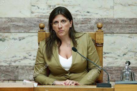 Zoe Konstantopoulou Speaker of Parliament Zoe Konstantopoulou attends a debate in Athens, early . The Greek government defended its new bailout program in tumultuous parliamentary sessions Friday, as it faced a rebellion in the governing Syriza party ahead of a vote on the deal