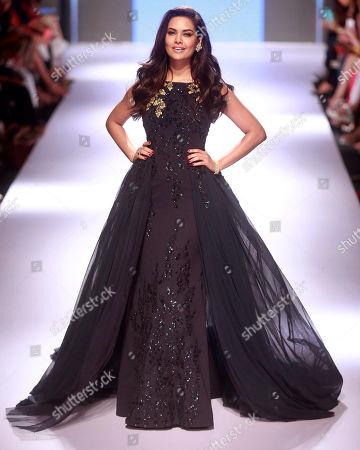 Stock Photo of Esha Gupta Bollywood actress Esha Gupta displays a creation by designer Ridhi Mehra during the Lakme Fashion Week in Mumbai, India
