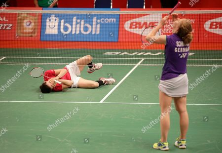 Linda Zetchiri, Karin Schnaase Bulgaria's Linda Zetchiri, left, celebrates after beating Germany's Karin Schnaase, right, during their women's singles match at the Badminton World Federation championships at Istora Stadium in Jakarta, Indonesia