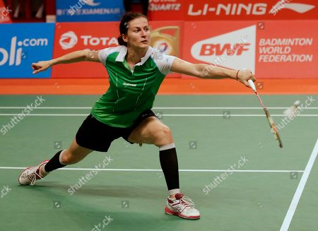 Bulgaria's Linda Zetchiri makes a backhand return to Korea's Bae Yeon Ju during their women's singles match at the Badminton World Federation championships at Istora Stadium in Jakarta, Indonesia