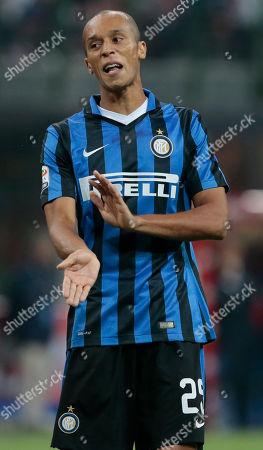 Stock Picture of Inter Milan's Joao Miranda de Souza Filho reacts during a Serie A soccer match between Inter Milan and Atalanta at the San Siro stadium in Milan, Italy