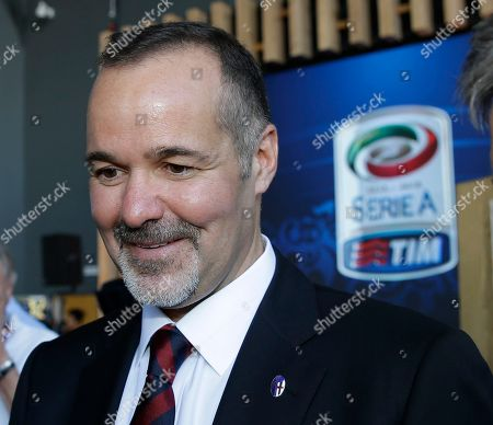 Stock Image of Bologna president Joe Saputo attends the draws for the upcoming Italian soccer Serie A championship in Rho, near Milan, Italy, Monday, July 27, 2015