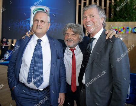 Sampdoria president Massimo Ferrero poses with Lazio's president Claudio Lotito, left, and Genoa president Enrico Preziosi prior to the draws for the upcoming Italian soccer Serie A championship in Rho, near Milan, Italy, Monday, July 27, 2015. The season 2015/16 will start on Aug. 22