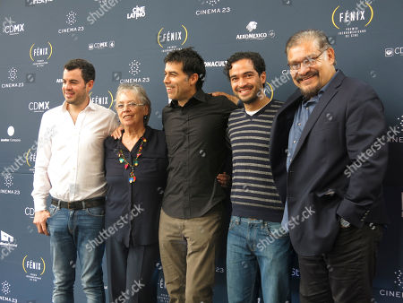 Rodrigo Penafiel, Bertha Navarro, Ricardo Giraldo, Alfonso Herrera, Joaquin Cosio Rodrigo Penafiel, president and founder of Cinema 23, from left, Mexican producer Bertha Navarro, Ricardo Giraldo, director of Cinema 23, Mexican actor Alfonso Herrera, and Mexican actor Joaquin Cosio, pose for a photo after a press conference to announce the second edition of the Fenix Awards, in Mexico City, . The awards, to be celebrated Nov. 25, recognize the best cinema from Latin America, Spain and Portugal