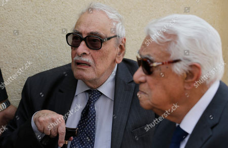 """Gamil Ratib Egyptian actor Gamil Ratib, left, attends the funeral of Egyptian actor Omar Sharif at the Hussein Tantawi Mosque in Cairo, Egypt, . Sharif, an Egyptian-born actor who soared to international stardom in movie epics, """"Lawrence of Arabia"""" and """"Doctor Zhivago,"""" died in a Cairo hospital of a heart attack on Friday. He was 83"""