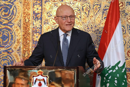 Lebanese Prime Minister Tammam Salam holds a press conference with Jordanian Prime Minister Abdullah Ensour (not pictured), in Amman, Jordan