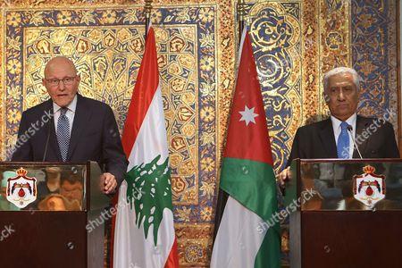 Lebanese Prime Minister Tammam Salam, left, holds a press conference with Jordanian Prime Minister Abdullah Ensour, in Amman, Jordan