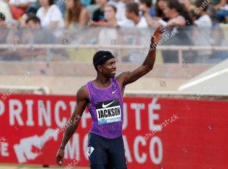 Bershawn Jackson US Bershawn Jackson reacts after winning the 400m hurdles men's race at the Herculis International Athletics Meeting, at the Louis II Stadium in Monaco
