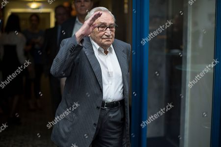 Stock Picture of Egon Bahr Social Democratic party member Egon Bahr gestures as he arrives to attend Russian and German political scientist meeting in Moscow, Russia
