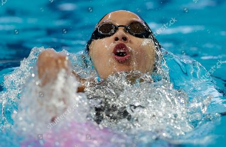 Stock Picture of Hong Kong's Stephanie Au swims during her heat of the women's 100m backstroke at the Swimming World Championships in Kazan, Russia