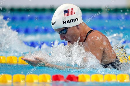 Jessica Hardy from the USA swims a women's 50m breaststroke heat race at the Swimming World Championships in Kazan, Russia