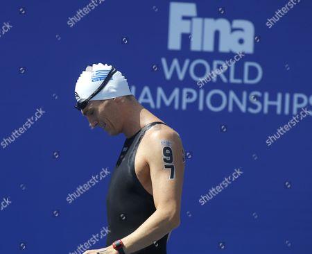 Spyridon Gianniotis Greece's Spyridon Gianniotis seen prior the 5 km open-water Team Event final at the Swimming World Championships in Kazan, Russia