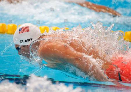 United States' Tyler Clary competes in a men's 200m butterfly heat at the Swimming World Championships in Kazan, Russia