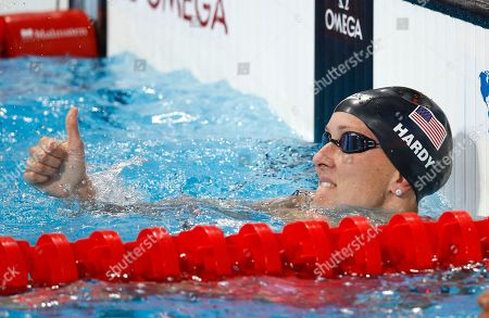 United States' Jessica Hardy gives thumb up after a women's 50m breaststroke semifinal at the Swimming World Championships in Kazan, Russia