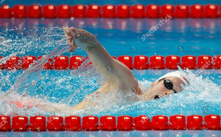 Stock Photo of Canada's bronze medal winner Ryan Cochrane competes in the men's 1500m freestyle final at the Swimming World Championships in Kazan, Russia