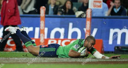 Patrick Osborne Highlanders' Patrick Osborne slides in for a try against the Waratahs during their Super Rugby semifinal match in Sydney