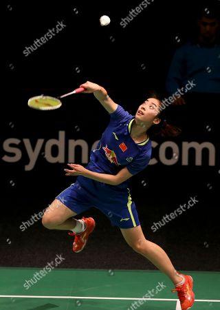Wang Shixian Wang Shixian of China returns a shot during her women's singles semi final match against Bae Yeon-ju of South Korea at the Australian Open Badminton tournament in Sydney