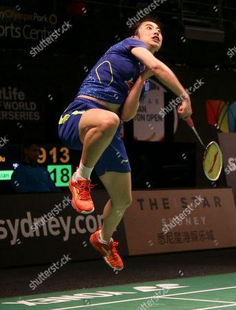 Wang Shixian Wang Shixian of China jumps to return a shot during her women's singles semifinal match against Bae Yeon-ju of South Korea at the Australian Open Badminton tournament in Sydney