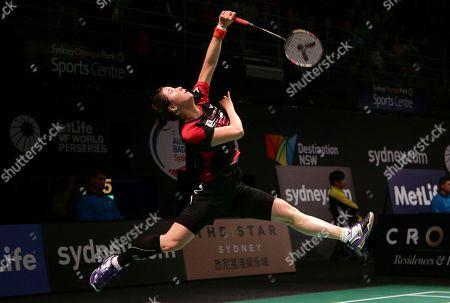 Bae Yeon-ju Bae Yeon-ju of South Korea returns a shot during her women's singles semifinal match against Wang Shixian of China at the Australian Open Badminton tournament in Sydney