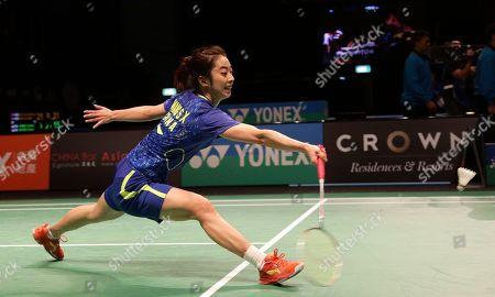 Wang Shixian Wang Shixian of China stretches to return a shot during her women's singles semifinal match against Bae Yeon-ju of South Korea at the Australian Open Badminton tournament in Sydney