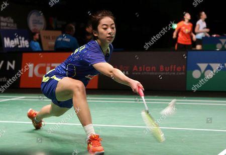 Wang Shixian Wang Shixian of China returns a shot during her women's singles semifinal match against Bae Yeon-ju of South Korea at the Australian Open Badminton tournament in Sydney