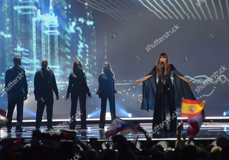 Portugal's Leonor Andrade performs the song 'Ha Um Mar Que Nos Separa', during the second semifinal of the Eurovision Song Contest in Austria's capital Vienna