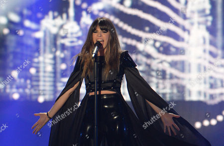 Leonor Andrade representing Portugal performs the song 'Ha Um Mar Que Nos Separa' during the second semifinal of the Eurovision Song Contest in Austria's capital Vienna