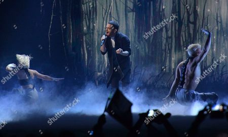 Elnur Huseynov representing Azerbaijan performs the song 'Hour Of The Wolf' during the second semifinal of the Eurovision Song Contest in Austria's capital Vienna