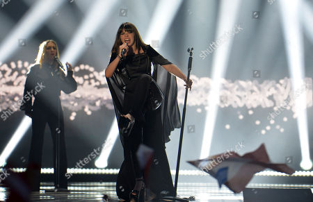 Stock Image of Leonor Andrade representing Portugal performs the song 'Ha Um Mar Que Nos Separa' during the second semifinal of the Eurovision Song Contest in Austria's capital Vienna