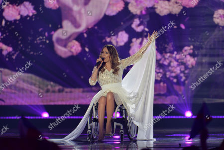 Monika Kuszynska representing Poland performs the song 'In The Name Of Love' during the second semifinal of the Eurovision Song Contest in Austria's capital Vienna