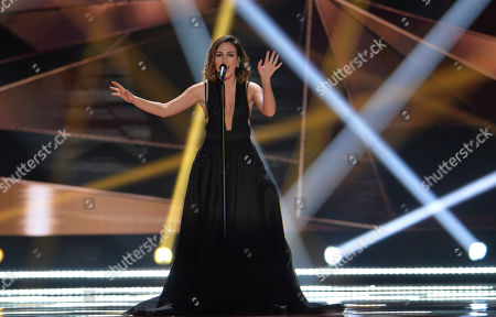 Elhaida Dani representing Albania performs the song 'I'm Alive' during a dress rehearsal for the final of the Eurovision Song Contest in Austria's capital Vienna