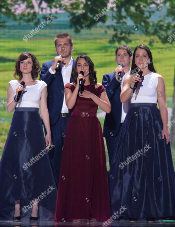 Boggie representing Hungary performs the song 'Wars For Nothing' on stage during a dress rehearsal for the final of the Eurovision Song Contest in Austria's capital Vienna