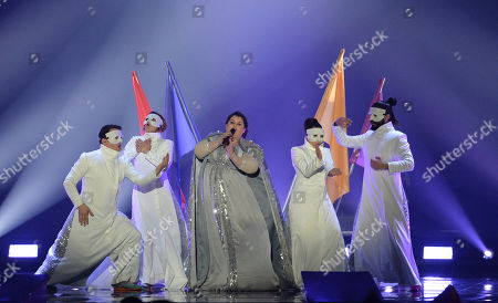 Bojana Stamenov representing Serbia performs the song 'Beauty Never Lies' on stage during a dress rehearsal for the final of the Eurovision Song Contest in Austria's capital Vienna