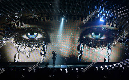 Nina Sublatti representing Georgia performs the song 'Warrior' during a dress rehearsal for the final of the Eurovision Song Contest in Austria's capital Vienna