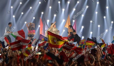Stock Image of Bojana Stamenov representing Serbia performs the song 'Beauty Never Lies' during the final of the Eurovision Song Contest in Austria's capital Vienna