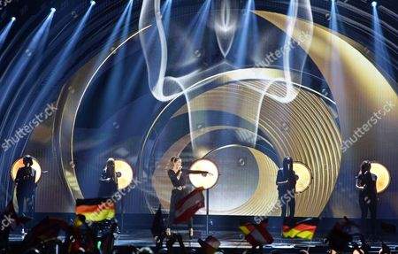 Ann Sophie, center, representing Germany performs the song 'Black Smoke' during the final of the Eurovision Song Contest in Austria's capital Vienna