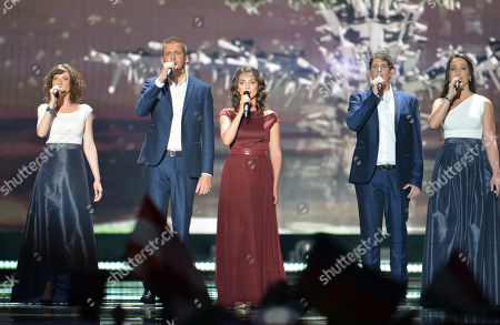 Boggie, center, representing Hungary performs the song 'Wars For Nothing' during the final of the Eurovision Song Contest in Austria's capital Vienna