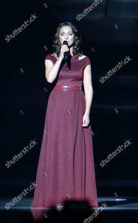 Stock Photo of Boggie representing Hungary performs the song 'Wars For Nothing' during the final of the Eurovision Song Contest in Austria's capital Vienna