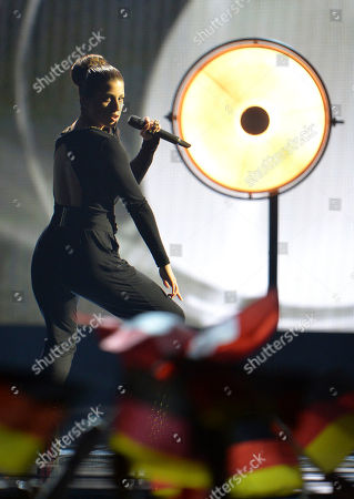 Ann Sophie representing Germany performs the song 'Black Smoke' during the final of the Eurovision Song Contest in Austria's capital Vienna