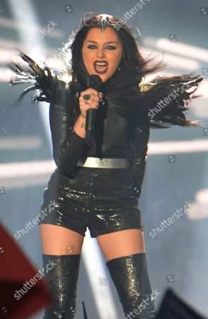 Stock Picture of Nina Sublatti representing Georgia performs the song 'Warrior' during the final of the Eurovision Song Contest in Austria's capital Vienna
