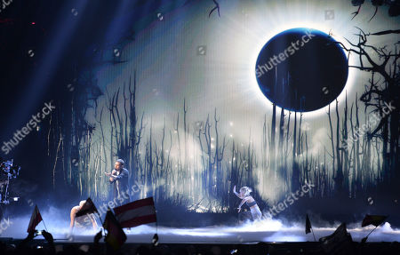 Elnur Huseynov representing Azerbaijan performs the song 'Hour Of The Wolf' during the final of the Eurovision Song Contest in Austria's capital Vienna