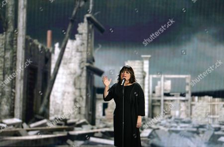 Stock Picture of Lisa Angell representing France performs the song 'N'oubliez Pas' during the final of the Eurovision Song Contest in Austria's capital Vienna