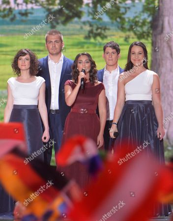 Stock Image of Boggie, center, representing Hungary performs the song 'Wars For Nothing' during the final of the Eurovision Song Contest in Austria's capital Vienna