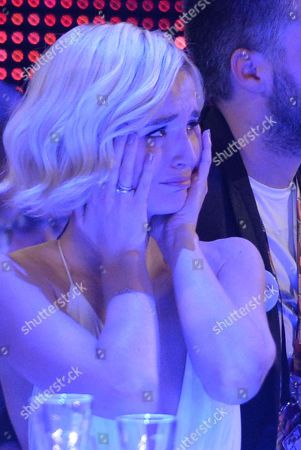 Stock Picture of Polina Gagarina representing Russia cries as the results are announced during the final of the Eurovision Song Contest in Austria's capital Vienna