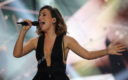 Stock Picture of Elhaida Dani representing Albania performs the song 'I'm Alive' on stage during a dress rehearsal for the final of the Eurovision Song Contest in Austria's capital Vienna