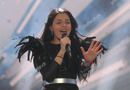 Nina Sublatti representing Georgia performs the song 'Warrior' on stage during a dress rehearsal for the final of the Eurovision Song Contest in Austria's capital Vienna